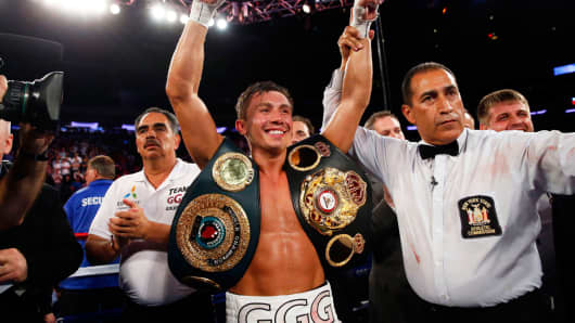Middleweight champion Gennady Golovkin after recording his 11th title defense in July.